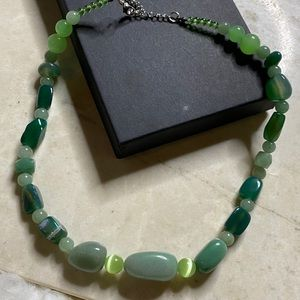 Necklace faux jade asian inspired beaded